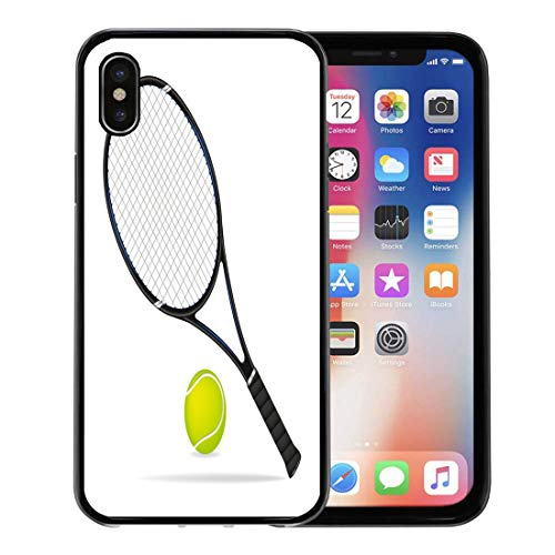 Semtomn Phone Case for Apple iPhone Xs case,Blue Paddle Tennis Racket and Ball Green Accessory Activity Auction for iPhone X Case,Rubber Border Protective Case,Black