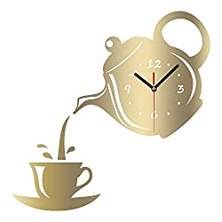 New Arrival Wall Clock Mirror Effect Coffee Cup Shape Decorative Kitchen Wall Clocks Living Room Home Decor (Golden)