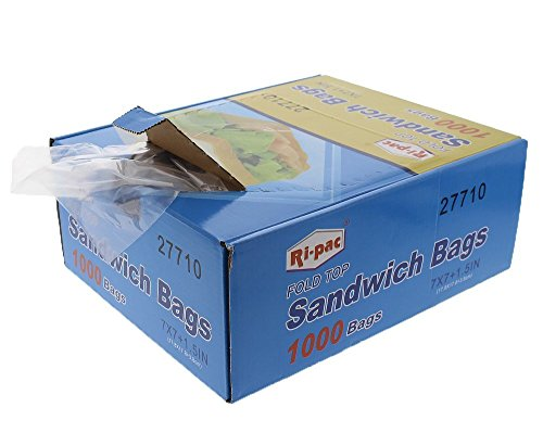 7 Inch Sandwich - Ri Pac Fold Top Sandwich and Snack Bags- 7 x 1.5 x 7 inches - 1000 Count - Food Storage for Kids Lunch