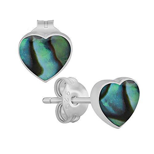 Abalone Heart Earrings - (Nickel Free) 925 Sterling Silver Abalone Shell Heart Stud Earrings 3042