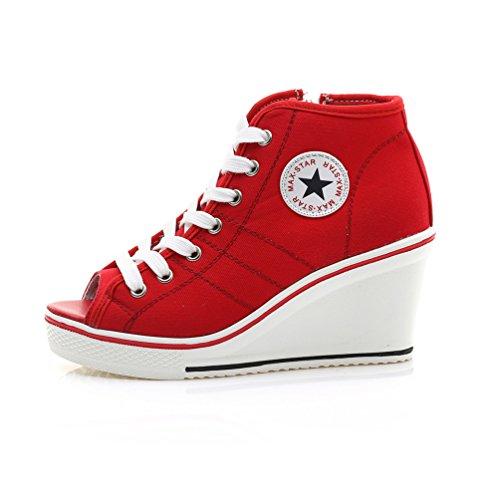Rojo Deporte Mujer Zapatillas de Lona de JRenok xw4qOYpn0C
