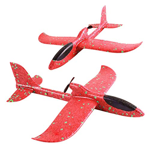 1PCS Foam Throwing Glider Inertia Led Night Aircraft Toy Hand Launch Airplane Model Toy, Kids Fun Toys 2019 New (red, 33.5x33cm) -