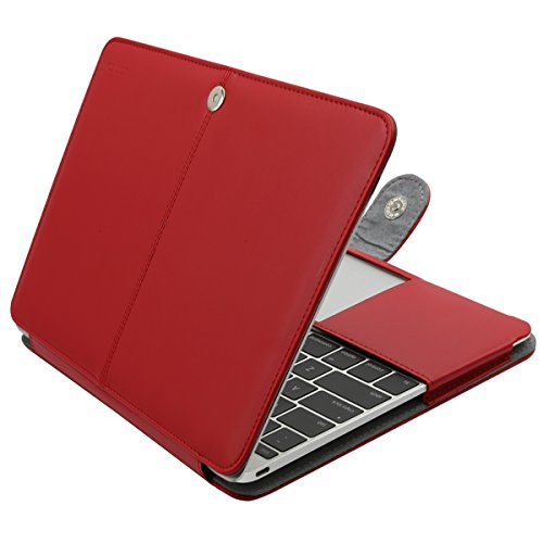 MOSISO PU Leather Case Only Compatible MacBook 12 Inch with Retina Display A1534 (Version 2017/2016/2015), Premium Quality Book Folio Protective Stand Cover Sleeve, Red