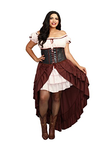Western Saloon Halloween Costumes (Dreamgirl Women's Plus-Size Saloon Gal Wild West Costume, Brown,)