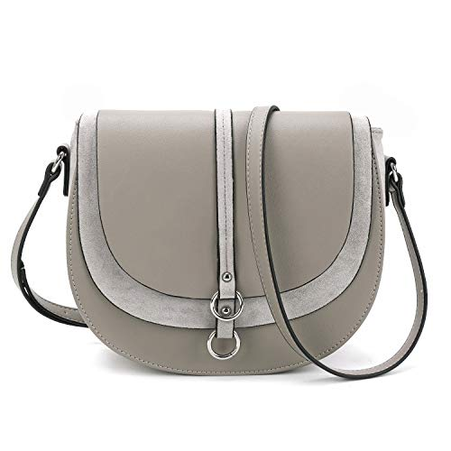 Women Crossbody Bag Saddle Shoulder Bag Small Satchel Purse and Grey Tote Handbag