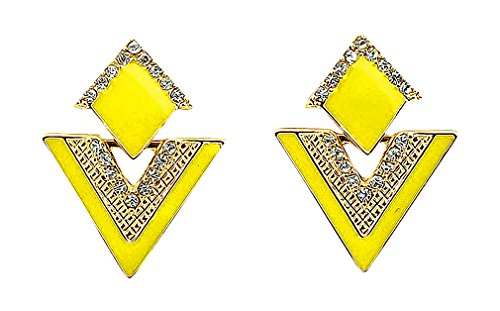 Discount Jewelry, Women's Triangle Rhombus Lozenge Shaped Clear CZ Colorful Fashion Drop Earrings, Yellow 14k Yellow Gold Lozenge