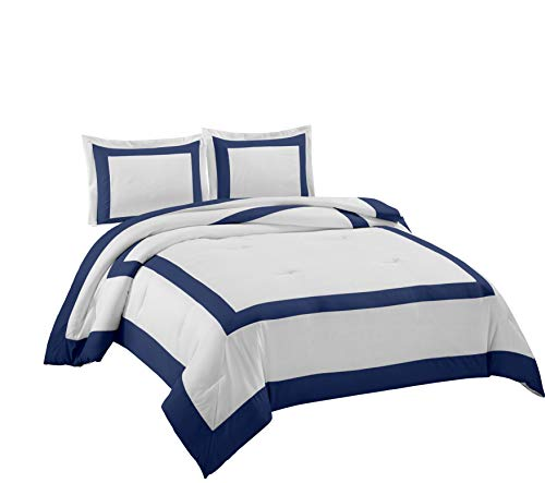 Chezmoi Collection Carlton 3-Piece Hotel Style Square Framed Bedding Comforter Set (Queen, White/Navy)