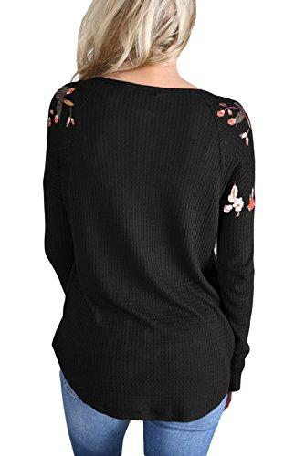 Neuf Noir à manches longues Floral Top Blouse de soirée pour femme Tenue décontractée d'été Taille UK 10EU 38