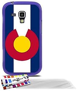 """Carcasa Flexible Ultra-Slim SAMSUNG GALAXY S DUO de exclusivo motivo [Bandera Colorado ] [Violeta] de MUZZANO  + 3 Pelliculas de Pantalla """"UltraClear"""" + ESTILETE y PAÑO MUZZANO REGALADOS - La Protección Antigolpes ULTIMA, ELEGANTE Y DURADERA para su SAMSUNG GALAXY S DUO"""