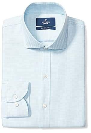 "Buttoned Down Men's Slim Fit Cutaway-Collar Pattern Non-Iron Dress Shirt, Aqua/Blue Houndstooth, 14.5"" Neck 32"" Sleeve"