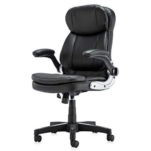 41DZqIaRmYL. SS500 Diseño ergonómico: el diseño del soporte lumbar y el reposacabezas de apoyo proporcionan un apoyo cómodo. Nuestro sillón te ofrece una gran comodidad elástica y un fuerte soporte de espalda. Alivia y reduce eficazmente el dolor de espalda Uso universal: nuestra silla clásica de cuero se adapta a varios tipos de oficina. El sillón de cuero tiene almohadillas de cojín y cojín de cuero acolchado negro, te hacen sentir cómodo y lleno de fuerza todo el día Cumple con las normas BIFMA: la funda de piel sintética respetuosa con el medio ambiente garantiza un uso a largo plazo. El elevador de gas y los reposabrazos cumplen con las normas BIFMA. Base de acero de cinco estrellas con un diámetro de 70 cm, garantiza una estabilidad general y muy robusta y duradera. Capacidad de peso de hasta 127 kg