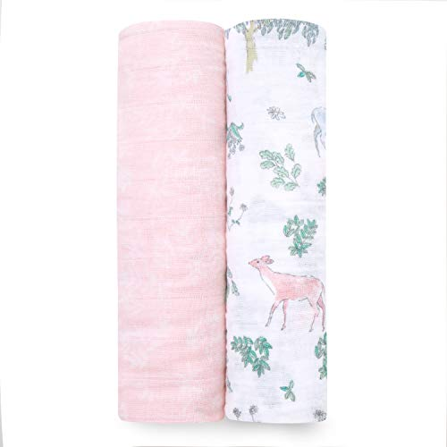 aden + anais Classic Swaddle Baby Blanket, 100% Cotton Muslin, Large 47 X 47 inch, 2 Pack, Forest Fantasy