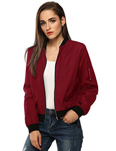 (Zeagoo Women Classic Solid Biker Jacket Zip up Bomber Jacket Coat)