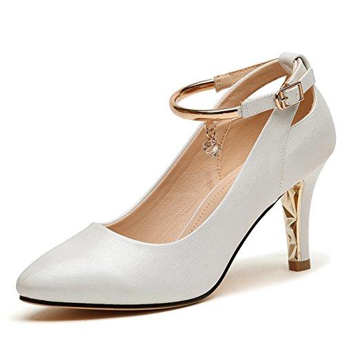 PUMPS MS Spitzen High Heels,Chunky Heels Low-Cut Dünne Schuhe,Vielseitige Damenschuhe-B Fußlänge=24.3CM(9.6Inch)