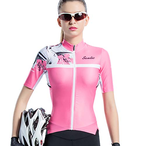 SANTIC Cycling Jersey Women's Shorts Sleeve Tops Bike Shirts Bicycle Jacket Full Zip with Pockets Pink M