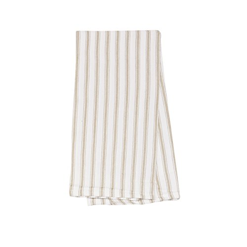 C&F Home Ticking Stripe Sandstone Woven Kitchen Towel (Woven Ticking)