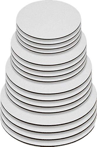 6/8/10/12 Inch Round Greaseproof Cake Boards White Cake Circle Base, 5 of Each Size (20Pcs)