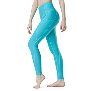 TSLA High Waist Yoga Pants with Pockets, Tummy Control Yoga Leggings, Non See-Through 4 Way Stretch Workout Running Tights, Ankle Thick Contour(fyp54) - Aqua, Medium