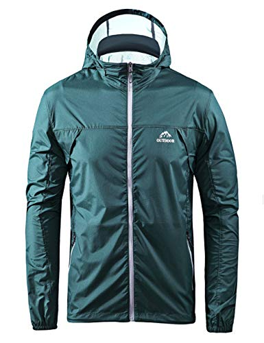 Men's Cycling Jersey Bicycle Ultra Light Windbreaker Windproof Lightweight Jacket Hiking (Blackish Green, L) ()