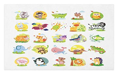 Lunarable Cute Doormat, Cheerful Wildlife Nature Theme Various Different Cartoon Animal Figures Jungle Safari, Decorative Polyester Floor Mat with Non-Skid Backing, 30 W X 18 L Inches, Multicolor