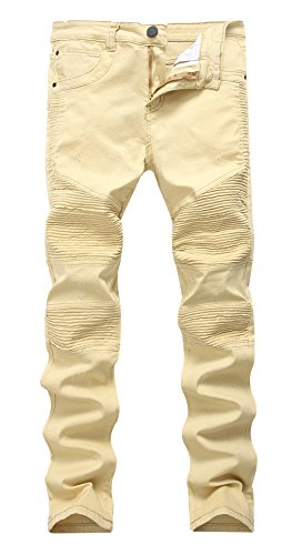 Men's Biker Moto Distressed Destroyed Fashion Skinny Jeans Slim Pants Khaki 34 by Kihatwin