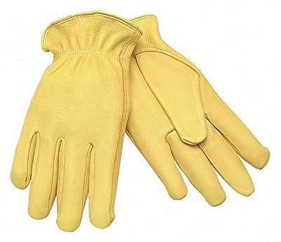 Deerskin Leather Work Gloves, Slip-On Cuff, Gold, Glove Size: M