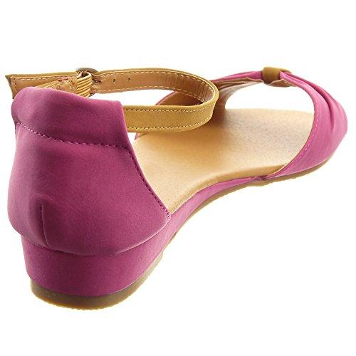 Sopily - Zapatillas de Moda Sandalias Tobillo mujer nodo Talón Plataforma 2.5 CM - Blanco