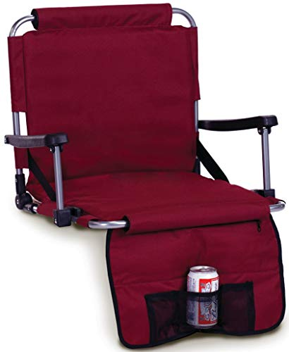 - Picnic Plus Stadium Seat with Arms, Straps to Bench & Bleachers- Maroon Burgundy Crimson