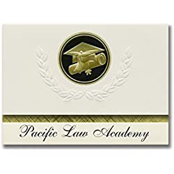 Signature Announcements Pacific Law Academy (Stockton, CA) Graduation Announcements, Presidential style, Basic package of 25 Cap & Diploma Seal. Black & Gold.
