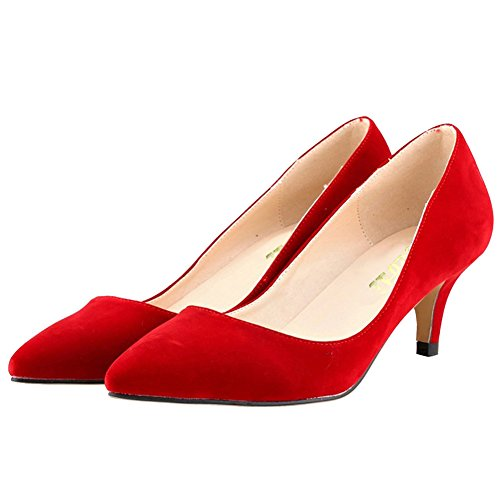 VOCOSI Women Fashion Slip On Kitten Heels Pointed Toe Pumps Court Shoes Size 3-11 UK Red(faux suede) ceOYY