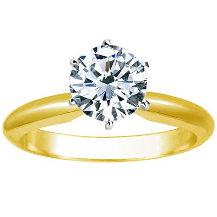 IGI Certified 1 Carat Round Brilliant Cut/Shape 14K Yellow Gold Solitaire Diamond Engagement Ring 6 Prong (H-I Color, Eye Clean Clarity) by Houston Diamond District