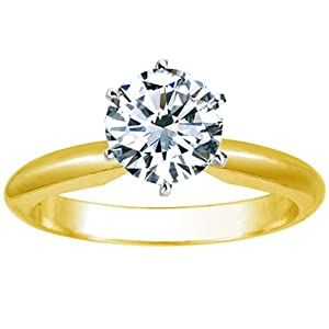 1 Carat Round Cut Diamond Solitaire Engagement Ring 18K Yellow Gold 6 Prong  (J, SI2-I1, 1 c.t.w) Very Good Cut