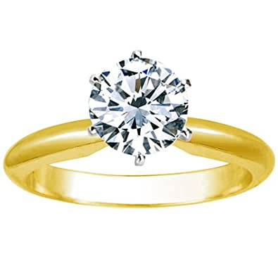 3d26a4afc80 1 Carat Round Cut Diamond Solitaire Engagement Ring 18K Yellow Gold 6 Prong  (K