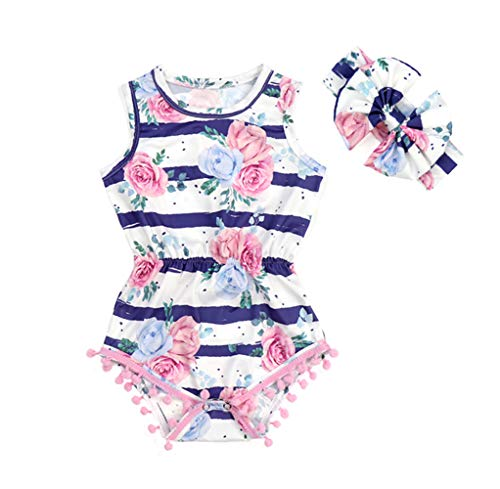 (Anbaby Baby Girls Floral Ruffles Romper Long Sleeve & Sleeveless One-Pieces Bodysuit Floral Outfits (6-12Months, Stripes Flower))