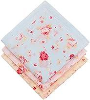 Houlife Women's 100% Cotton Rose Floral Handkerchief Elegant Hankies, 18x18 In