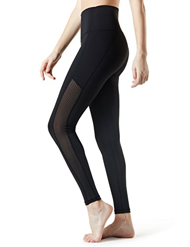 Athletic Pants Workout - TSLA TM-FYP56-BLK_Medium Yoga Mesh Long Pants High Tummy Control Waist w Hidden Pocket FYP56