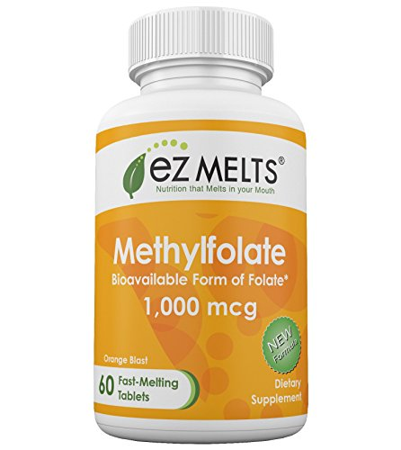 EZ Melts Folate, 1,000 mcg, Dissolving Vitamins, Zero Sugar, Natural Orange Flavor, GMO-Free Fast Melting Tablets, Bioactive Folic Acid as Methylfolate, Gluten-Free Chewable Supplement