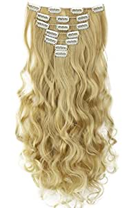 """PRETTYSHOP XXL Set 8 pcs 24"""" Clip In Hair Extensions Full Head Hairpiece Wavy Curled Or Straight Heat-Resisting Div. Colors (bleach blonde mix curled #25T613 CES7-1)"""