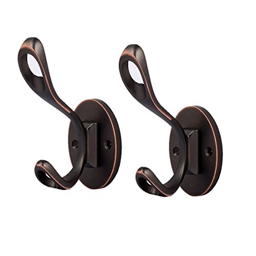 uxcell Bedroom Bathroom Metal Double Hooks Screw Mounted Oval Base Wall Hanger 2pcs by uxcell