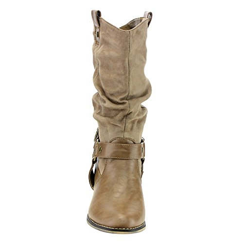 Heel Taupe Cowgirl On AD44 Boots Refresh Mid Calf Women's Slouchy Pull Western Block qAR07w