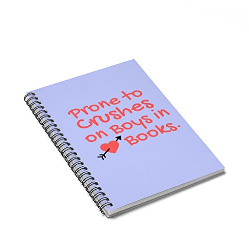 Prone to Crushes on Boys in Books Spiral Notebook - Ruled Line (Light Purple Cover) - Lite Line Notepad