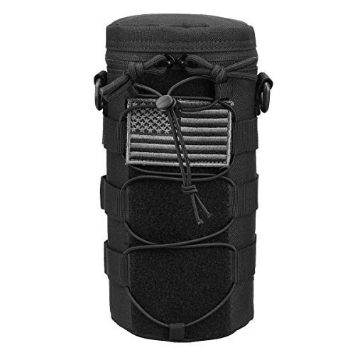 AMYIPO Water Bottle Pouch Molle Tactical Holder Storage Bag for 32oz Carrier (Black)