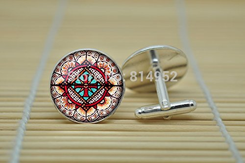 Pretty Lee Vintage Church Stained Glass Jewelry Cufflinks Abstract Cufflinks In Silver Glass Cabochon Cuff Links C0725