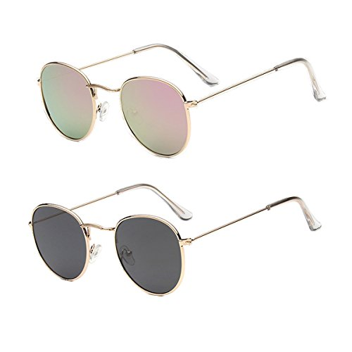 2 Packs Round Lens Sunglasses for Women Men Retro Unisex Glasses (Golden