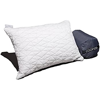"""Camping and Travel Pillow with Bamboo Derived Viscose Rayon Cover - Adjustable- Compressible - Includes Stuff Sack Great for Backpacking and airplane or car Travel 19"""" x 14"""" - Memory Foam-"""