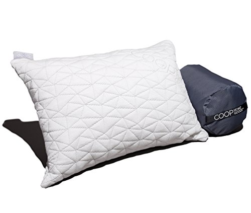 Camping and Travel Pillow with Bamboo Derived Viscose Rayon Cover - Adjustable Compressible - Includes Stuff Sack Great for Backpacking, Airplane or car Travel - 19