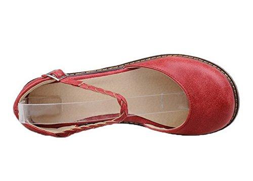 à PU CCAFLO013264 VogueZone009 Talon d'orteil Fermeture Bas 38 Sandales Cuir Boucle Femme Rouge fHRnqA