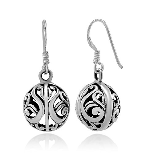 925 Sterling Silver Bali Inspired Open Filigree Ball Dangle Hook Earrings -
