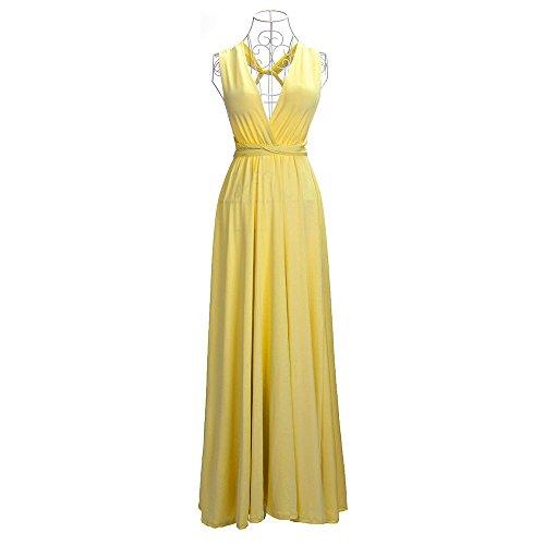 Vestidos Piso Multi Boho Dresses Largo De Vestido Maxi Amarillo Fiesta way Mujer Sin Mangas longitud Cóctel xwRqqp8v7