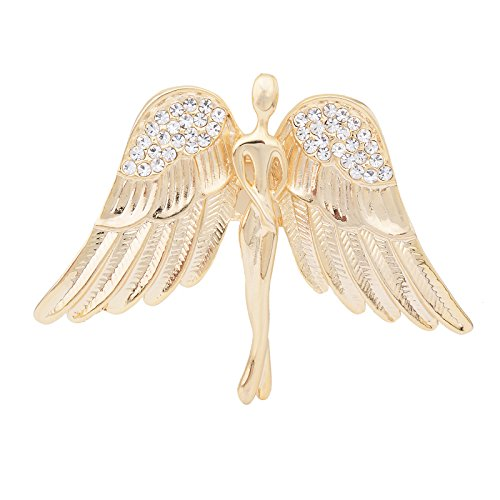 Fenni Women's Crystal Guardian Angel Wings Pin Brooches Protection Baby Jewelry Lapel Pin Badge Gift (Angel Pin Brooch)